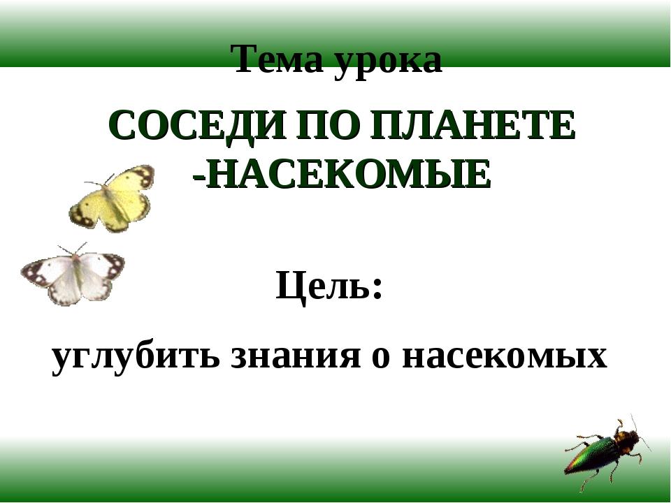 Тема урока СОСЕДИ ПО ПЛАНЕТЕ -НАСЕКОМЫЕ Цель: углубить знания о насекомых