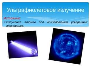 Ультрафиолетовое излучение Источник: Излучение атомов под воздействием ускоре
