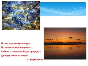 Но эти царственные воды, Но горы в сизой полумгле… Байкал – священный дар при