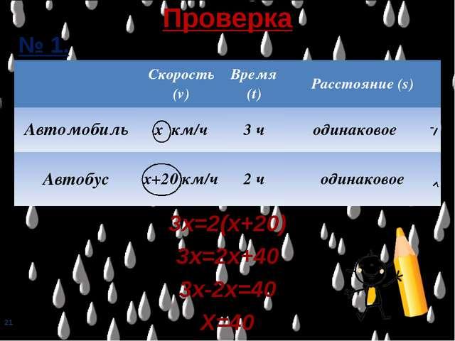 * № 1. 3х=2(х+20) 3х=2х+40 3х-2х=40 Х=40 Проверка Скорость (v)Время (t)Рас...