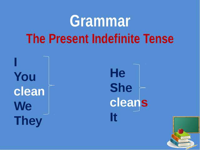 Grammar The Present Indefinite Tense I You clean We They He She cleans It