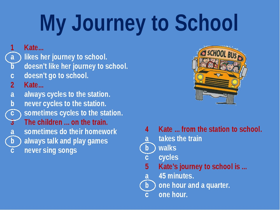 1	Kate... a	likes her journey to school. b	doesn't like her journey to school...