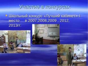 Участие в конкурсах Школьный конкурс «Лучший кабинет»-I место в 2007,2008,20
