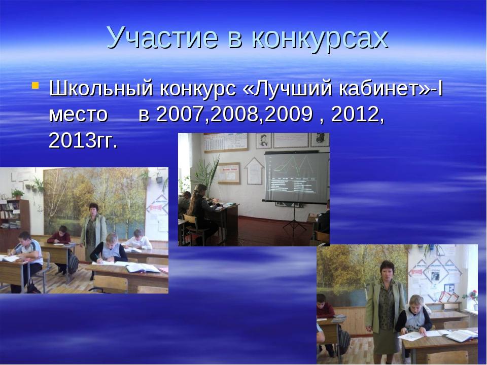 Участие в конкурсах Школьный конкурс «Лучший кабинет»-I место в 2007,2008,20...