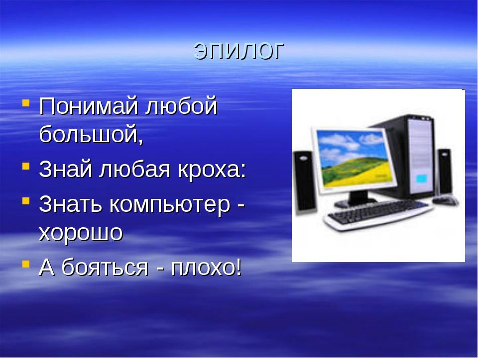 эпилог Понимай любой большой, Знай любая кроха: Знать компьютер - хорошо А бо...
