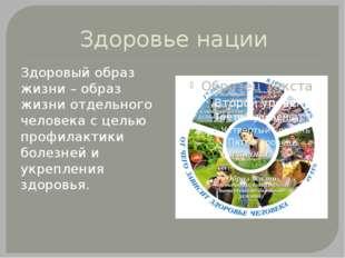 Здоровье нации Здоровый образ жизни – образ жизни отдельного человека с целью