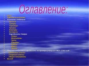 Цель Народные костюмы Костюмы отдельно Русские Татары Украинцы Чуваши Башкиры