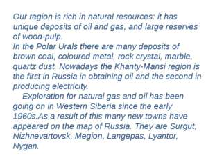 Our region is rich in natural resources: it has unique deposits of oil and ga