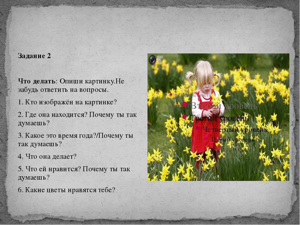 Задание 2  Что делать: Опиши картинку.Не забудь ответить на вопросы. 1. Кто...