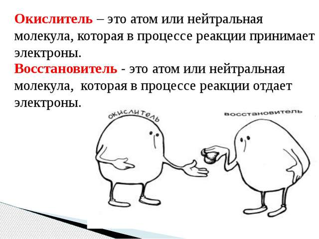 Окислитель – это атом или нейтральная молекула, которая в процессе реакции пр...