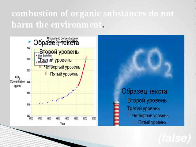 combustion of organic substances do not harm the environment. (false)