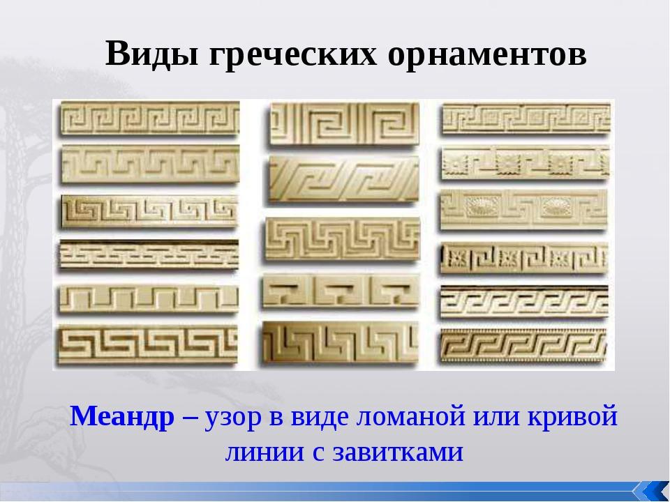 Виды греческих орнаментов Меандр – узор в виде ломаной или кривой линии с зав...