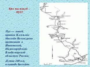 Кто ты такой – ЛУХ? Лух — левый приток Клязьмы (бассейн Волги).река протекает