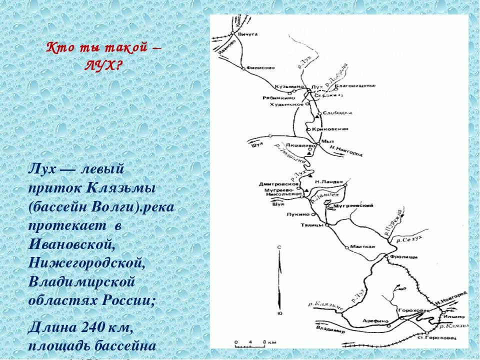 Кто ты такой – ЛУХ? Лух — левый приток Клязьмы (бассейн Волги).река протекает...