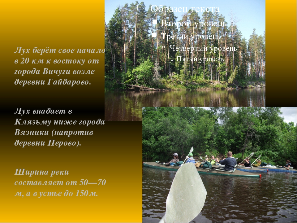 Лух берёт свое начало в 20 км к востоку от города Вичуги возле деревни Гайдар...