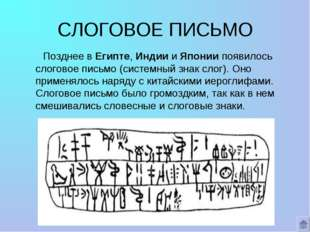 СЛОГОВОЕ ПИСЬМО Позднее в Египте, Индии и Японии появилось слоговое письмо (с