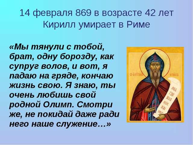 «Мы тянули с тобой, брат, одну борозду, как супруг волов, и вот, я падаю на...