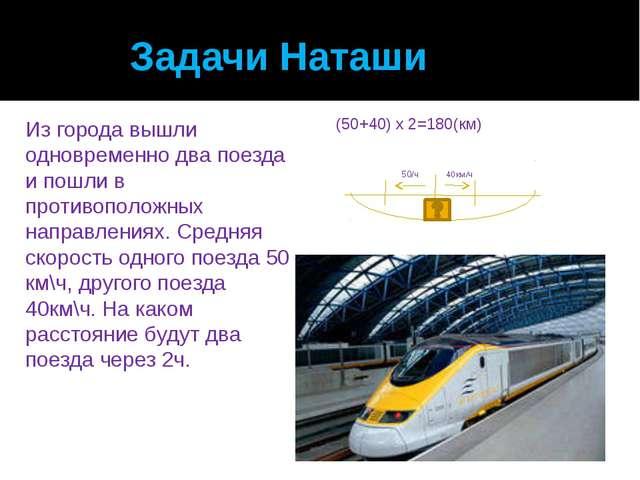Задачи Наташи Из города вышли одновременно два поезда и пошли в противополож...