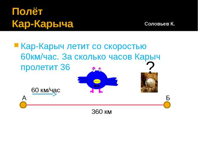 Полёт Кар-Карыча Кар-Карыч летит со скоростью 60км/час. За сколько часов Кары...