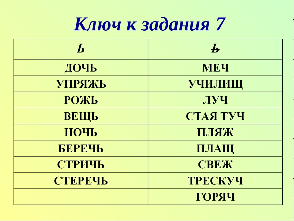 Ключ к задания 7