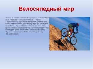 Велосипедный мир В конце 20 века велосипедный мир пережил настоящий бум : из