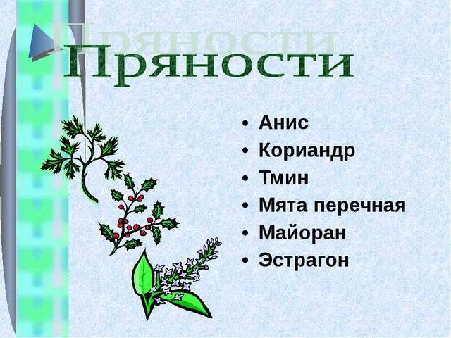 Анис Кориандр Тмин Мята перечная Майоран Эстрагон