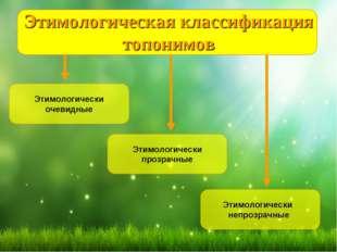 Этимологическая классификация топонимов Этимологически очевидные Этимологичес