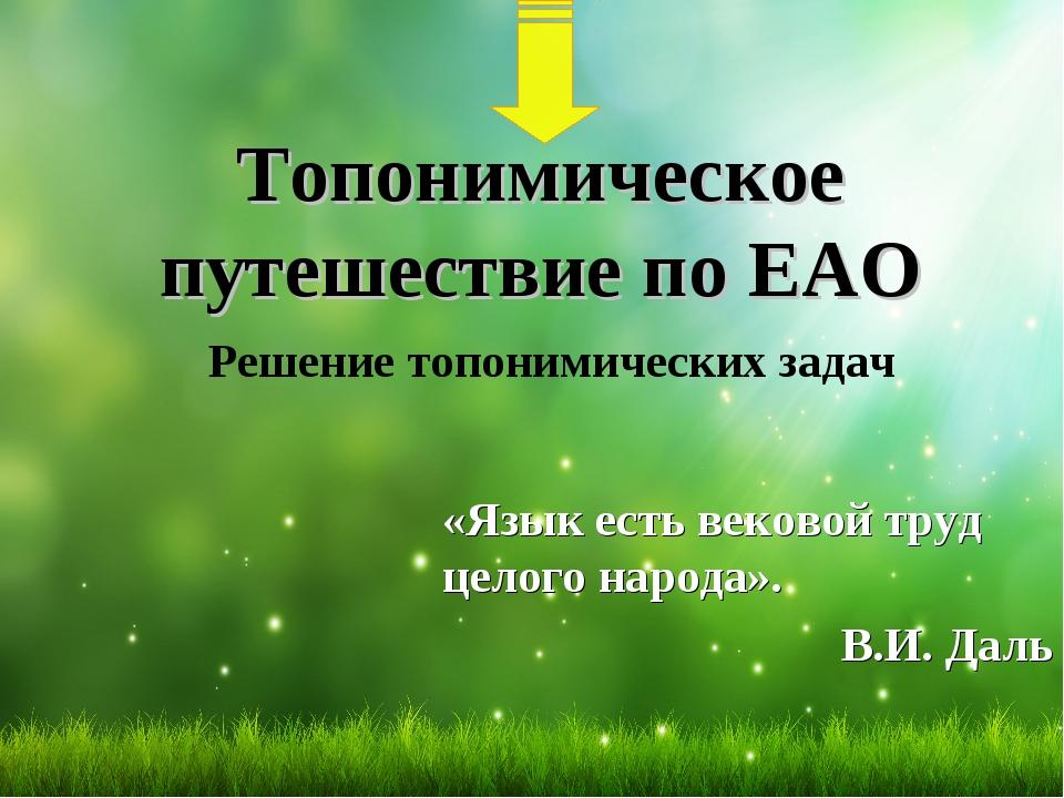 Топонимическое путешествие по ЕАО Решение топонимических задач «Язык есть век...
