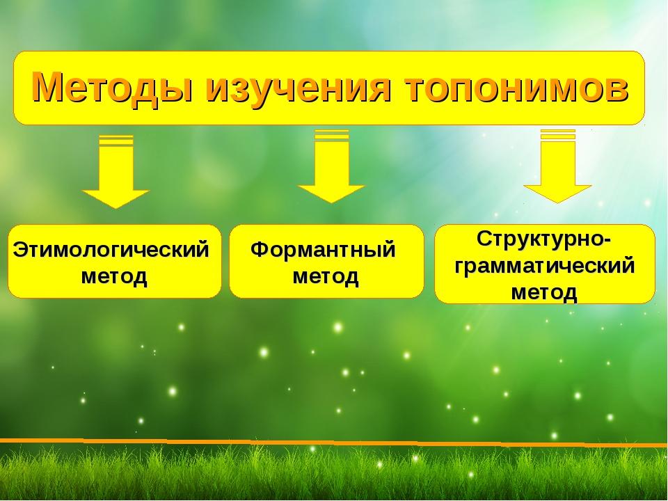 Методы изучения топонимов Этимологический метод Формантный метод Структурно-...