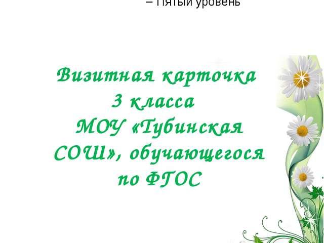 МОУ «Тубинская СОШ» Визитная карточка 3 класса МОУ «Тубинская СОШ», обучающег...