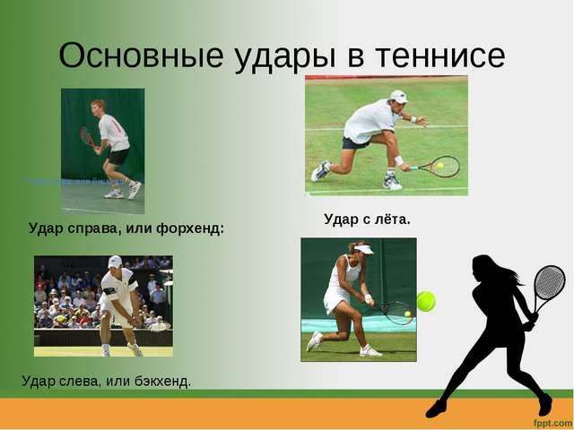 Основные удары в теннисе Удар справа, или форхенд: Удар слева, или бэкхенд. У...
