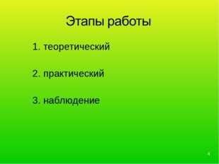 1. теоретический 2. практический 3. наблюдение *