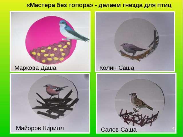 «Мастера без топора» - делаем гнезда для птиц Маркова Даша Колин Саша Майоров...