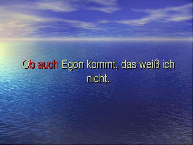 Ob auch Egon kommt, das weiß ich nicht.
