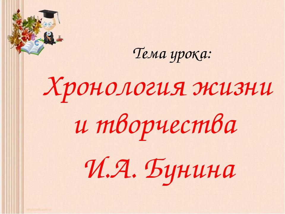 Тема урока: Хронология жизни и творчества И.А. Бунина