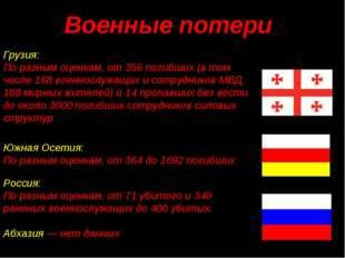 Грузия: По разным оценкам, от 356 погибших (в том числе 168 военнослужащих и