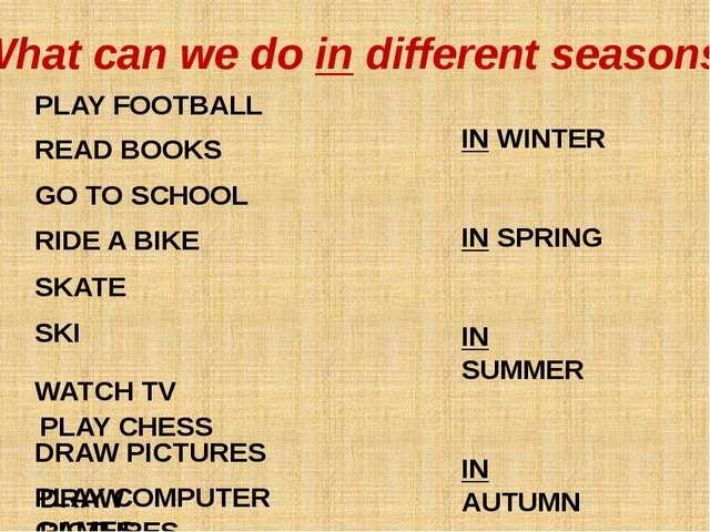 IN WINTER IN SPRING IN SUMMER IN AUTUMN PLAY FOOTBALL READ BOOKS GO TO SCHOOL...