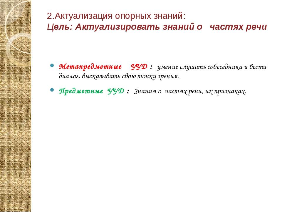 2.Актуализация опорных знаний: Цель: Актуализировать знаний о частях речи Мет...
