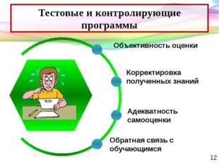 Тестовые и контролирующие программы Объективность оценки Адекватность самооце