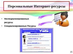 Персональные Интернет-ресурсы Неспециализированные ресурсы Специализированные
