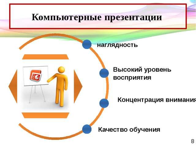Компьютерные презентации наглядность Высокий уровень восприятия Концентрация...
