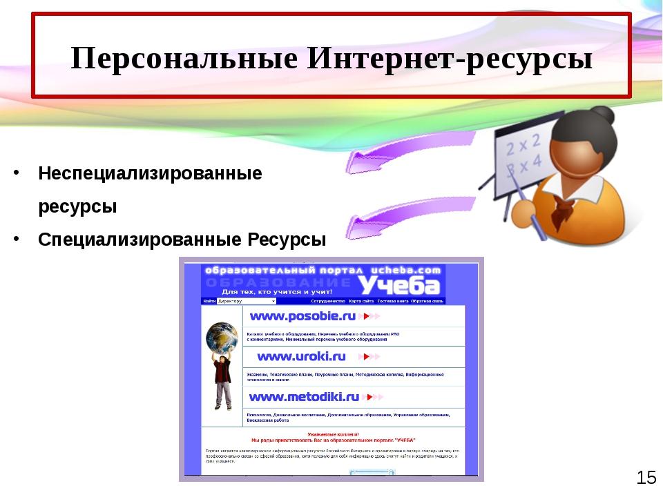 Персональные Интернет-ресурсы Неспециализированные ресурсы Специализированные...