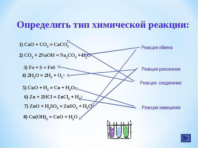 8) Cu(OH)2 = CuO + H2O Определить тип химической реакции: 1) CaO + CO2 = CaCO...
