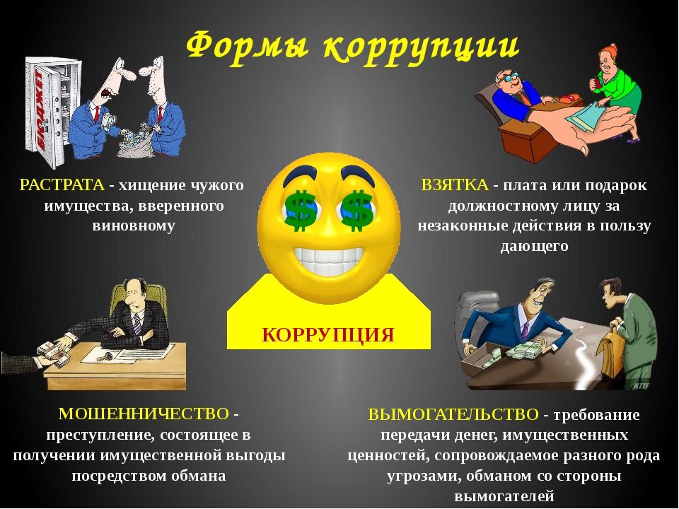 КОРРУПЦИЯ Формы коррупции ВЗЯТКА - плата или подарок должностному лицу за не...