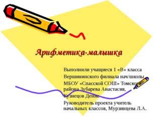 Арифметика-малышка Выполнили учащиеся 1 «В» класса Вершининского филиала нач/