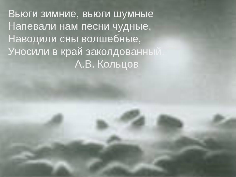 Вьюги зимние, вьюги шумные Напевали нам песни чудные, Наводили сны волшебные,...