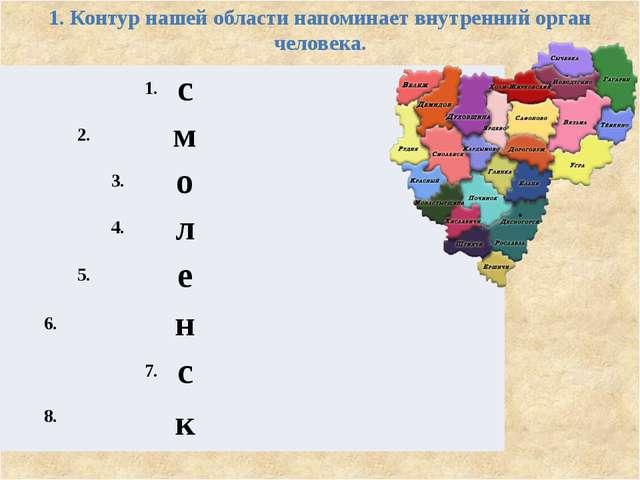 1. Контур нашей области напоминает внутренний орган человека. 1. с 2. м 3. о...