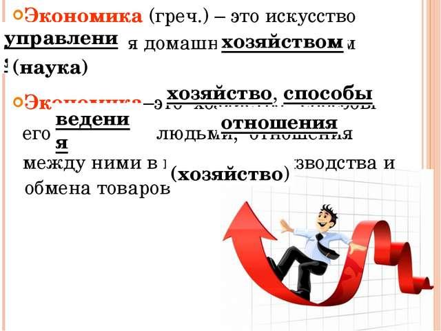 Экономика (греч.) – это искусство управления домашним хозяйством Экономика–эт...
