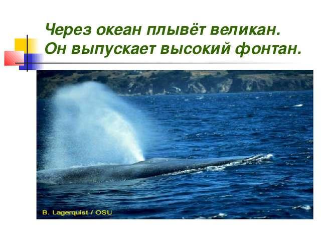 Через океан плывёт великан. Он выпускает высокий фонтан.