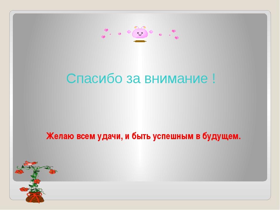 Спасибо за внимание ! Желаю всем удачи, и быть успешным в будущем.